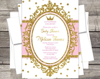 Delightful Royal Princess Baby Shower Invitation, Pink Or Lavender Gold, Silver,  Glitter, Crown