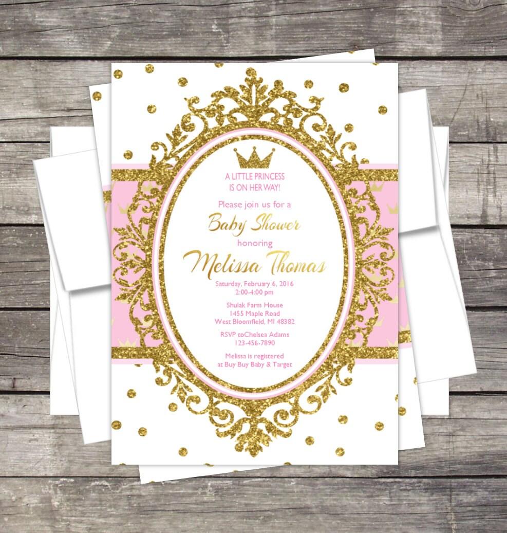 Royal Princess Baby Shower Invitation Pink Or Lavender Gold