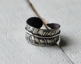 Ring solid silver feather, on command, boho, ethnic, patina