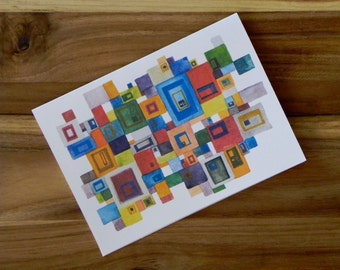Squares of Color Card Set, Eight blank notecards and envelopes, abstract colorful art