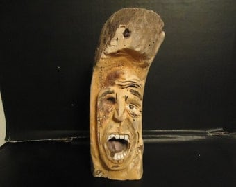 Driftwood Carving Wood Spirit  Sculpture, Walking Dead , Zombie