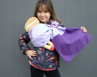Doll ring Sling,Doll sling, Toy ring sling,Baby doll Wrap,Baby doll Carrier, Children Sling, Toddler toy wrap, Purple toy sling