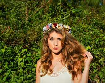 Woodland Natural Hair Wreath Flower Crown Wedding Bridal CWERKY original OOAK Flower Girl Floral Crown Music Festival Wear