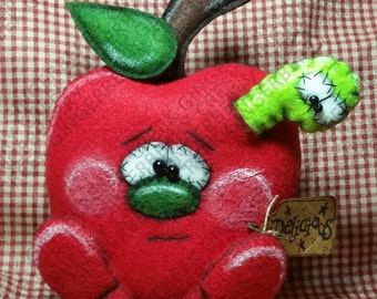 Food For Thought Pattern #218 - Primitive Doll Pattern - Apple and Worm - Summer - Teachers