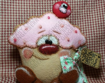 E-Pattern - Sugar Rush Cupcake and Bing Cherry Pattern #209 - Primitive Doll/Ornie E-Pattern