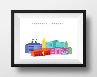 Lawrence Kansas Skyline Print