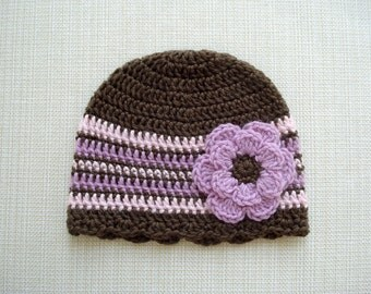 Crochet newborn hat Baby girl hat Newborn girl beanie with flower Newborn baby girl photography prop hat Baby girl beanie Newborn girl hat