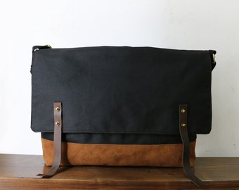 Handcrafted Urban Style Large Leather Denim Canvas Messenger Bag/ Everyday Bag/ Laptop Bag/ Office Bag/ Design with Details/ Gift for Him