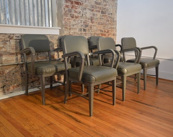 Set of 6 Grey Steelcase Industrial Mid Century Modern Arm Chairs