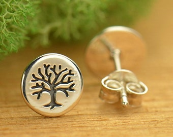 Sterling Silver Etched Tree of Life Post Earrings