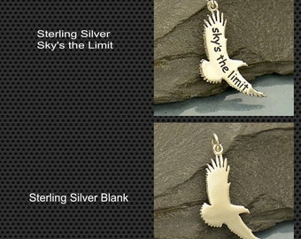 Silver Eagle Charm Message Pendant - Blank or Sky is the Limit