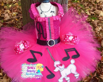 Sock Hop Poodle Skirt Tutu Dress/Pigtail Bows/Costume/Halloween/Pageant/Dress/Tutu/Infant/Girl/Toddler