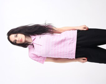 Vintage Lacoste Pink Striped  Tennis Preppy Polo Shirt Size S