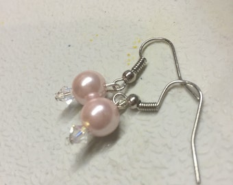 Aurora crystal pink pearl earrings