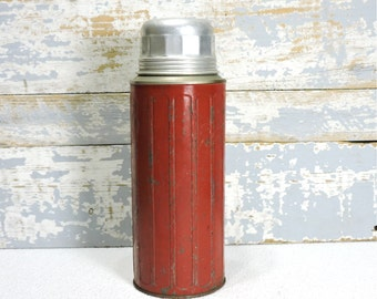 Aladdin Thermos 1950's Stainless Steel Lining Sani-Seald and Original Cork Stopper 30 Ounce Size Made in Chicago