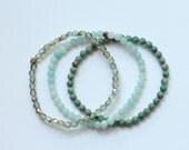 SET of 3 sage green bracelets / august birthday gift / delicate skinny bracelets / stretch bracelets minimalist jewelry #482