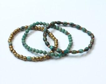 SET of 3 boho turquoise bracelets jewelry skinny bracelets stretch bracelets minimalist gift for women girlfriend gift womens bead bracelet