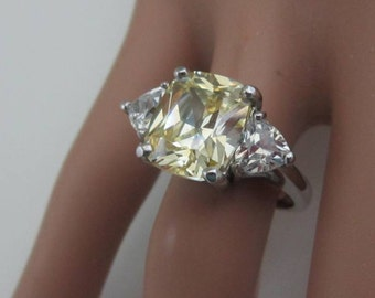 Sterling Silver Canary Cushion-Cut Engagement Ring