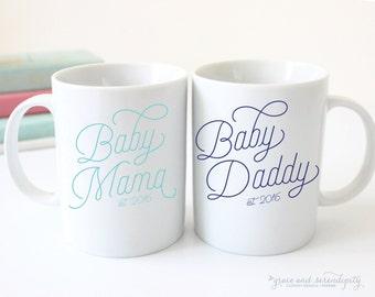 Baby Mama OR Baby Daddy Mug - 11 OR 15 ounce mug, coffee mug, encouraging mug, new parent mug, stepdad mug, baby gift, personalized mug - NC