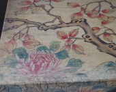 Antique Box Chinese Polychrome Skin Covered Storage Box Brass Lock Plate Brass Handles Chinese Box Painted Flowers Trees Chinoiserie