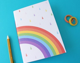 A5 Rainbow Handmade Notebook with blank pages