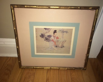 Geisha Watercolor in Garden Vintage Picture