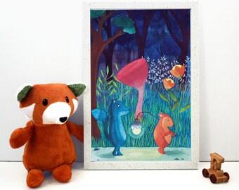 Forest print, woodland themed illustration, children's gift ideas, wildlife themed print, whimsical fine art print, magical nursery decor