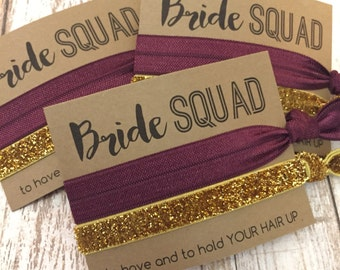 Bachelorette Party Favors Hair Ties // Bride SQUAD  [Solid + Gold] - Gift Her Bridesmaids // MOH - Survival Kit // To Have and To Hold