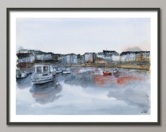 Boats Painting, Port Watercolor, Harbor poster, Port print , Giclee, Modern wall art