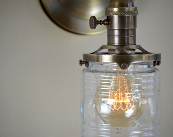 Wall sconce with Clear Jelly Jar Shade