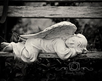 Angel Statue print, sleeping angel photography, art print, fine art photography, whimsical decor, black and white print, religious, guardian