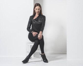 black blouse - womens shirt - Womens tops - Black womens full winter top-  long sleeves top - long sleeves blouse- winter blouse