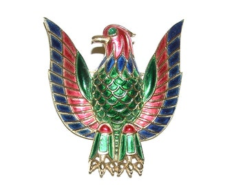 TRIFARI Gold Plated Eagle Brooch w/ Multi Colored Enamel