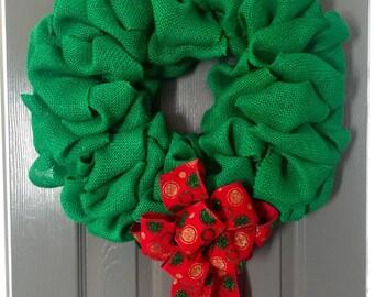 Simple Christmas Burlap Wreath