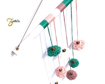 Mobile decoration - suspension - pink, white, green - Hippie crochet flowers / Indian / weaving / Bohemian / Gypsy
