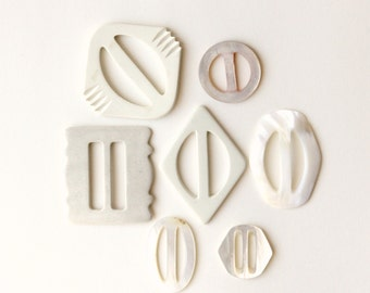 Vintage buckle collection, Mother of pearl buckles, LOT of 7 Instant collection, 1940s and 50s, Vintage supply