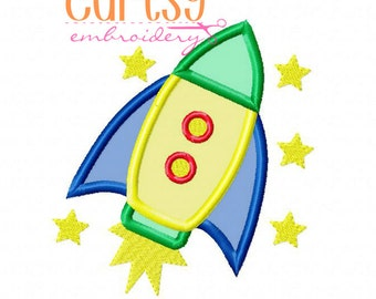 Rocket Ship Embroidery Design, Rocket Applique Design, Outer Space Embroidery Design