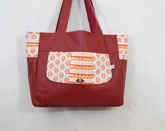 Tote bag oversize colored in Burgundy synthetic leather for women