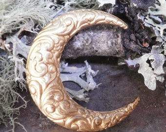 Raw Brass Stamping Crescent Moon