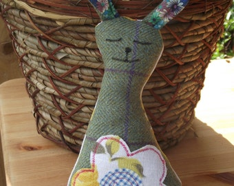Sleepy Rabbit cuddly soft toy made from vintage and retro fabrics