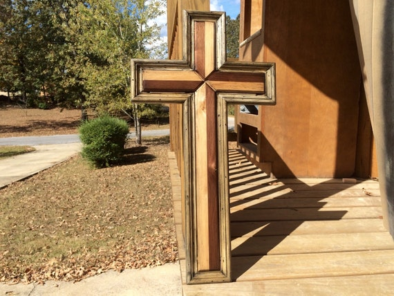 Large Handmade Wood Cross Wooden Cross Distressed Wall