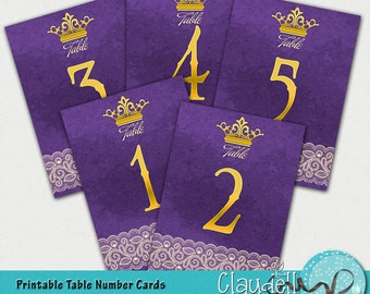 Wedding Table Numbers Cards Royal Purple - 300 DPI