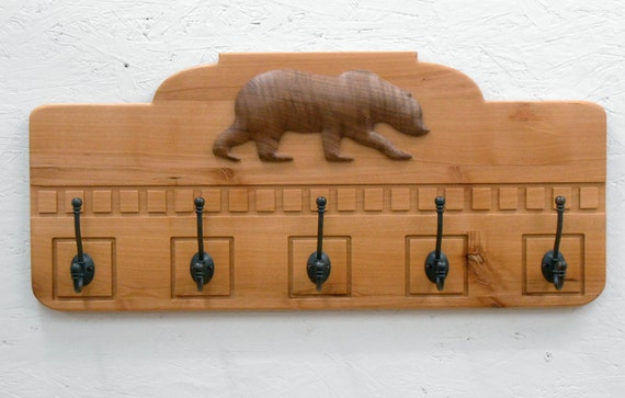 Rustic Alder Coat Rack with 3D Bear Carving