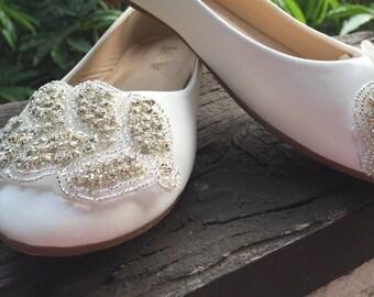 Bridal Flat Bridal Shoe,Rhinestone Shoe,Wedding Shoe, Flat Rhinestone