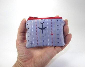 Air plane zipper pouch, pilot bag, flight coin purse, change purse, airplane wallet, accessory, blue red