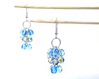 Blue Earrings // Sparkling Blue and Green Cluster Dangles // Crystal Bead Drops