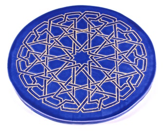 Ceramic Trivet - Blue and Gold Trivet - Moroccan Tile Trivet - Mandala Trivet - Round Trivet - Art Tile - Hot Plate - Hot Pad