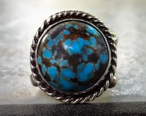 Old High Grade GEM BISBEE Turquoise Intense Blue Heavy Gauge Sterling Silver Navajo Native American Handcrafted Ring Size 8