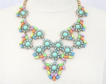 Mint Green and Blue Rhinestone Floral Statement Necklace Stone Bib Necklace