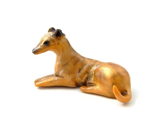 Light Brindle Greyhound Figurine Hand-Sculpted Polymer Clay
